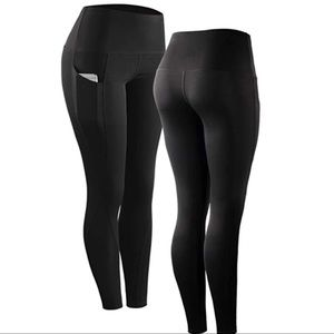 Pants - Black Ankle Length Workout Leggings with Pockets